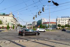 Busy Traffic And People On Downtown Streets Of Vienna City - stock photo