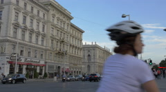Traffic on Museumstrasse, next to the Cafe Raimund, Vienna Stock Footage