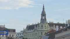 Beautiful building with tower in the first district of Vienna Stock Footage