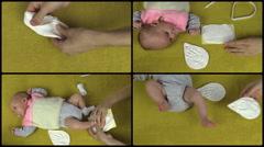 Hand make newborn baby footprint footmark palm mark. Collage. Stock Footage