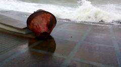 Sea buoy washed ashore Stock Footage
