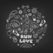 Run vector icons set Stock Illustration