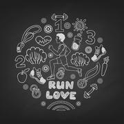 Love run man vector - stock illustration