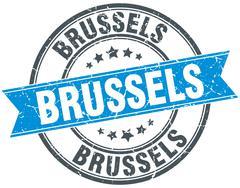 Brussels blue round grunge vintage ribbon stamp Stock Illustration