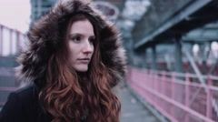 Portrait of Young adult woman on street in New York Stock Footage