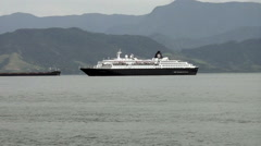Cruise ship anchored in the sea - stock footage
