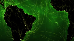 World connections. South America. Green. Locked. Stock Footage