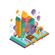 Colourful Castle. Isometric Illustration Stock Illustration