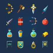 Game Resources Icons Flat Vector Set Piirros