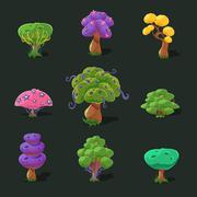 Cartoon Trees, Vector Set - stock illustration