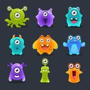 Monsters Lovely Vector Illustration - stock illustration