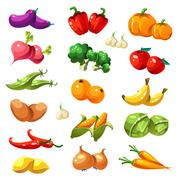 Fruits and Vegetables. Organic Food Icons Vector Stock Illustration