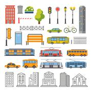 Transportation and City Traffic Infographics Elements. Vector Illustartion - stock illustration