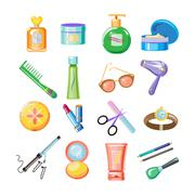Cosmetics Icons. Vector Illustration Set - stock illustration