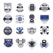 Fitness Emblems Vector Set - stock illustration