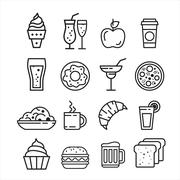 Fast junk food icons set Stock Illustration