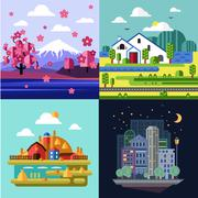 Stock Illustration of City and Village, Nature Landscape Set
