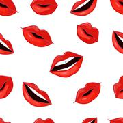 Red Lips Pattern. Vector Illustration - stock illustration