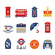 Stock Illustration of London and England Icon Set