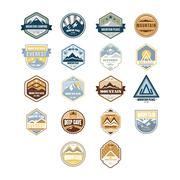 Mountain and Outdoor Adventure Vintage Emblems, Vector Set - stock illustration