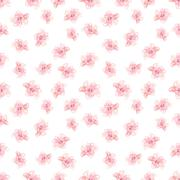 Stock Illustration of Hibiscus Flowers Pattern, Hand-Drawn Vector Pattern