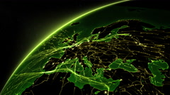 Earth connections. From Europe to North America. Green. Stock Footage
