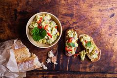 Bruschetta with avocado spread Stock Photos