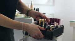 Various makeup tools Stock Footage