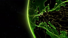 Earth connections. Europe. 2 shots in 1 file. Locked and dolly. Green. - stock footage