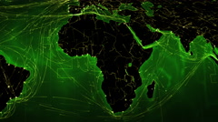 African and European maps with bright connections. 2 shots in 1 file. Green. Stock Footage