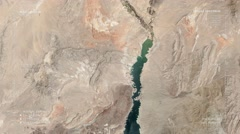 Aerial Surveillance Flyover of Lake Mead in its drought state Stock Footage