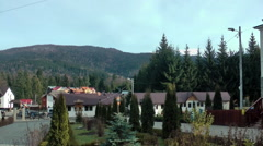Panoramic view of mountain village Stock Footage