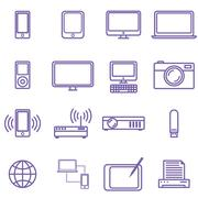 Gadgets and technology icons set, linear style. Vector illustration Stock Illustration