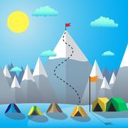 Flag On The Mountain Peak. Goal Achievement. Flat design vector illustration - stock illustration
