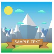 Mountain landscape. Flat design vector illustration. Goal Achievement - stock illustration