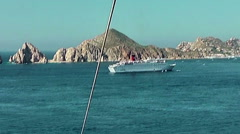 Cruise ships in port of Cabo San Lucas, shot from parachute Stock Footage