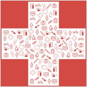 First aid medical icons set. Vector illustration in linear flat design - stock illustration