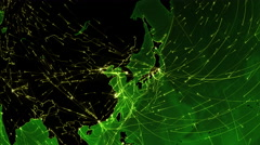 World connections. Asia-Japan. Green. Locked. More options in my portfolio. Stock Footage