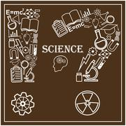 Human head and icons of science. Vector illustration in linear style Stock Illustration