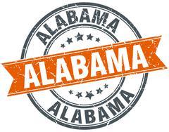 Alabama red round grunge vintage ribbon stamp - stock illustration