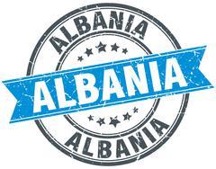 Albania blue round grunge vintage ribbon stamp - stock illustration