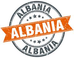Albania red round grunge vintage ribbon stamp - stock illustration