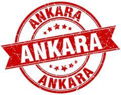 Ankara red round grunge vintage ribbon stamp Stock Illustration
