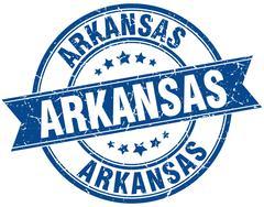Arkansas blue round grunge vintage ribbon stamp - stock illustration