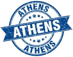 Athens blue round grunge vintage ribbon stamp - stock illustration
