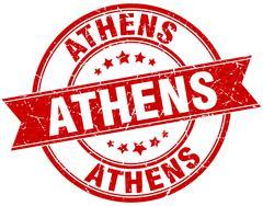 Athens red round grunge vintage ribbon stamp - stock illustration