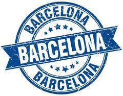 Barcelona blue round grunge vintage ribbon stamp - stock illustration