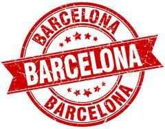 Barcelona red round grunge vintage ribbon stamp - stock illustration
