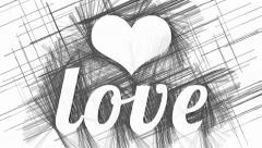 Heart and Love on abstract hatched background - stock footage