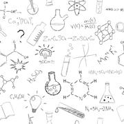 Chemistry formulas and flasks on white background. Seamless pattern. Vector - stock illustration